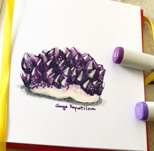 Purple amethyst greenrainart illustration