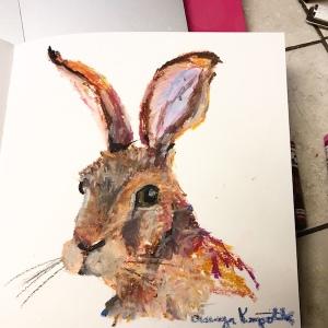 A hare oil pastel greenrainart