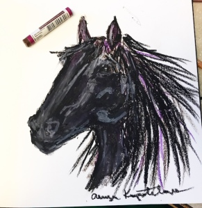 horse head oil pastel greenrainart black beauty