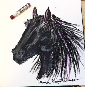 horse head oil pastel greenrainart black beauty