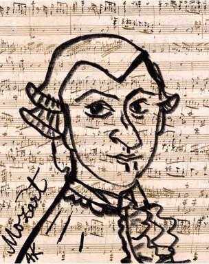 Mozart portrait illustration greenrainart