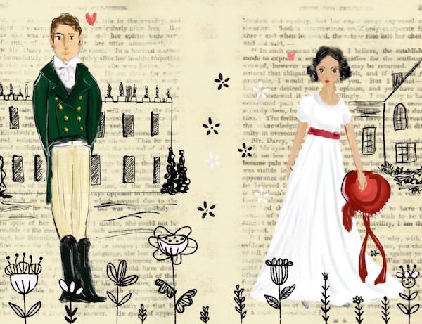 Pride and Prejudice illustration greenrainart