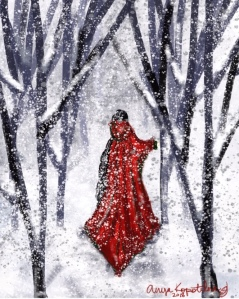 red caped girl in snowy woods