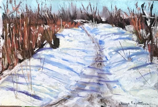 snowy trail soft pastel greenrainart