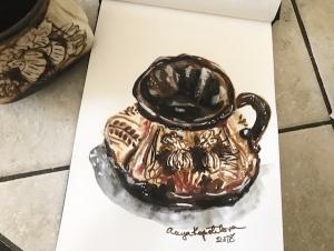 souvenir cup sketch greenrainart